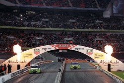 Final heat 3: Sebastian Vettel crosses the line to win the Nations Cup in front of Heikki Kovalainen