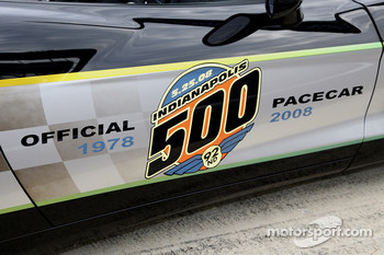 The 92nd Indianapolis 500 logo on the side of the black-and-silver commemorative edition Pace Car that marks the 30th anniversary of the celebrated 1978 Pace Car