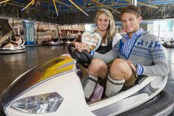 Marco Wittmann and Natalie Geisenberger attend the BMW Wiesn Sport-Stammtisch 2015 at Oktoberfest