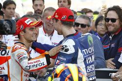 Second place Dani Pedrosa, Repsol Honda Team and winner Jorge Lorenzo, Yamaha Factory Racing