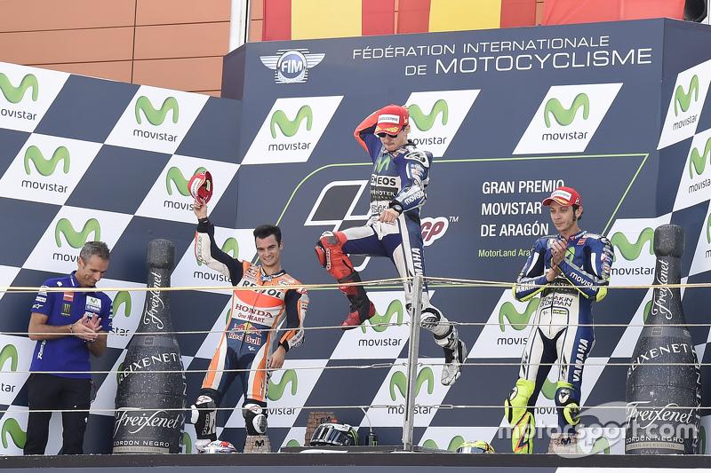 Dani Pedrosa, Repsol Honda Team y ganador Jorge Lorenzo y Valentino Rossi tercer lugar, Yamaha Factory Racing