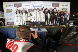Class winners podium: GTLM winners Nick Tandy, Patrick Pilet, Richard Lietz, P class winners Joao Barbosa, Christian Fittipaldi, Sébastien Bourdais, PC winners Mike Guasch, Tom Kimber-Smith, Andrew Palmer, GTD winners Patrick Lindsey, Spencer Pumpelly, Mad