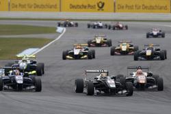 Charles Leclerc, Van Amersfoort Racing Dallara Volkswagen and George Russell, Carlin Dallara Volkswagen and Markus Pommer, Motopark Dallara Volkswagen