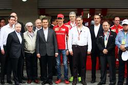 Jean Todt, FIA President; Bernie Ecclestone, Mexican President; Esteban Gutierrez, Ferrari Test and Reserve Driver; Maurizio Arrivabene, Ferrari Team Principal; ; Carlos Slim Domit, Chairman of America Movil