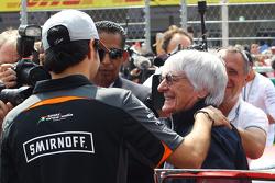 Sergio Perez, Sahara Force India F1 VJM08 with Bernie Ecclestone, on the drivers parade.
