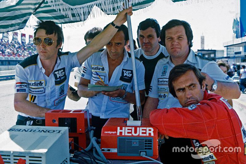 Patrick Head, Alan Jones and Carlos Reutemann, Williams