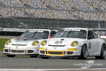 #14 Autometrics Motorsports Porsche GT3 Cup: Cory Friedman, Mac McGehee, Anthony Lazzaro, Ralf Kelleners, #85 Farnbacher Loles Motorsports Porsche GT3 Cup: Chris Bingham, Don Pickering, Bill Cotter, Chris Pennington