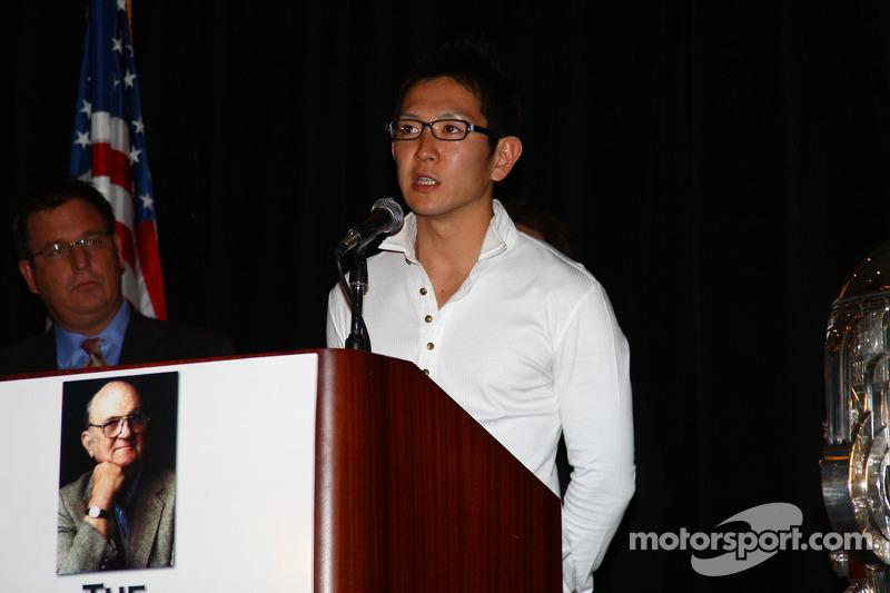 Indy Pro Series graduate Hideki Mutoh speaks at the Shav Glick Newsmakers Forum