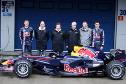 David Coulthard, Adrian Newey, Technical Operations Director, Christian Horner, Red Bull Racing, Sporting Director, Geoff Willis, Red Bull Racing, Technical Director, Rob White Renault, and Mark Webber pose with the new Red Bull RB4