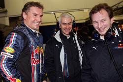 David Coulthard, team principal Christian Horner and technical director Geoffrey Willis