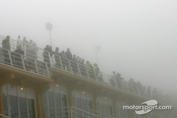 Fans waiting in the fog
