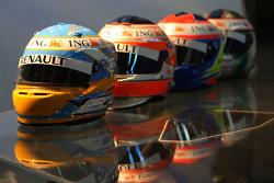 Helmets, Fernando Alonso, Renault F1 Team, Nelson A. Piquet, Renault F1 Team, Lucas Di Grassi, Test Driver, Renault F1 Team, Romain Grosjean Test Driver, Renault F1 Team