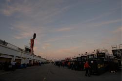 Garage activity at dusk