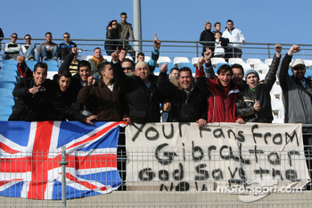 Lewis Hamilton, McLaren Mercedes fans in the grandstand with banners