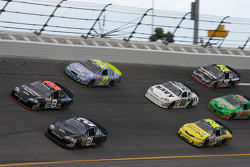 Martin Truex Jr. and Bobby Labonte lead a group of cars