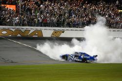 Race winner Ryan Newman celebrates