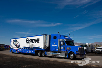 The Fastenal team hauler makes its' way into the Las Vegas Motor Speedway