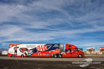 The AAA team hauler makes its' way into the Las Vegas Motor Speedway
