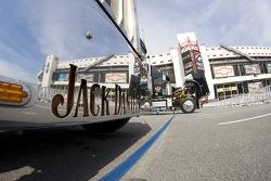 The Jack Daniels hauler arrives at the Bristol Motor Speedway
