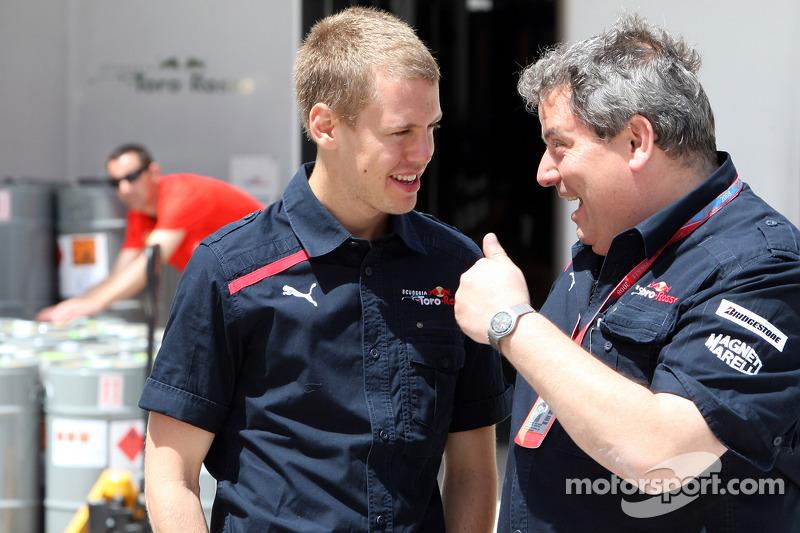 Sebastian Vettel and technical director Giorgio Ascanelli