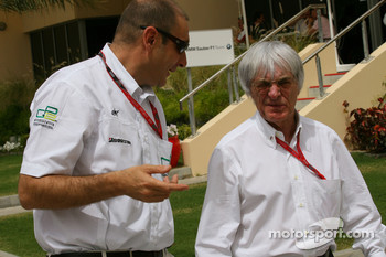 Bruno Michel GP2 CEO talks with Bernie Ecclestone