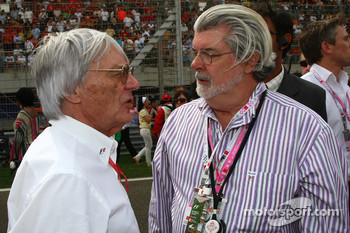 Bernie Ecclestone, President and CEO of Formula One Management and George Lucas, Director of the Star Wars movies