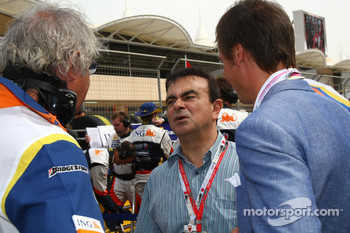 Carlos Ghosn Chairman of Renault and Flavio Briatore, Renault F1 Team, Team Chief, Managing Director