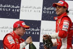 Podium: champagne for Felipe Massa and Kimi Raikkonen
