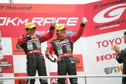 GT300 podium: third place Tetsuya Yamano and Kota Sasaki