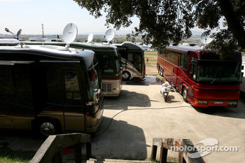 Drivers' motorhome, Nico Rosberg, Williams F1 Team, David Coulthard, Red Bull Racing, Sebastian Vettel, Scuderia Toro Rosso and Jenson Button, Honda Racing F1 Team