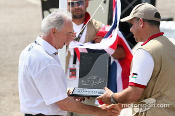 John Fleming, President and CEO Ford of Europe receives the FIA Manufacturer's award on behalf of the BP-Ford Abu Dhabi World Rally Team from HRH Prince Abdullah