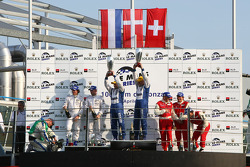 LMP2 podium: class winners Casper Elgaard and John Nielsen, second place Jos Verstappen and Peter Van Merksteijn, third place Jan Lammers, Didier Theys and Fredy Lienhard