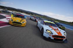 Aston Martin Lola Aston Martin LMP1, DBR9 GT1, Vantage GT2, DBRS9 GT3 and N24 GT4 cars on track