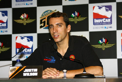 Justin Wilson in a press conference following the cancellation of day 2 practice due to rain