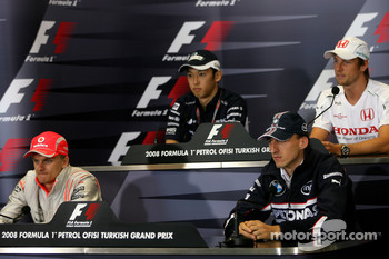 FIA press conference: Heikki Kovalainen, McLaren Mercedes, Robert Kubica, BMW Sauber F1 Team, Kazuki Nakajima, Williams F1 Team, Jenson Button, Honda Racing F1 Team