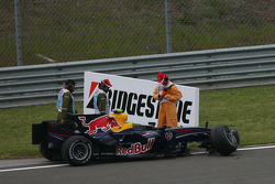 Mark Webber, Red Bull Racing, RB4, crashed during the session
