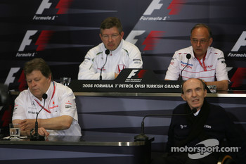 FIA press conference: Ross Brawn Team Principal, Honda Racing F1 Team, John Howett, Toyota Racing, President TMG, Norbert Haug, Mercedes, Motorsport chief and Sir Frank Williams, WilliamsF1 Team, Team Chief, Managing Director, Team Principal