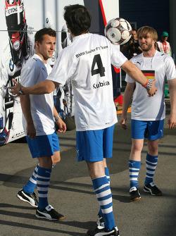 Christian Klien, Test Driver, BMW Sauber F1 Team, Robert Kubica, BMW Sauber F1 Team and Nick Heidfeld, BMW Sauber F1 Team plays football