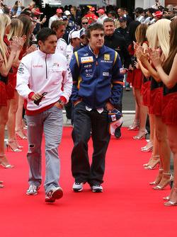 Fernando Alonso, Renault F1 Team, Giancarlo Fisichella, Force India F1 Team