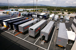 McLaren Mercedes trucks in the paddock