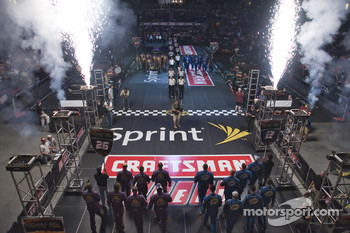 The NASCAR Sprint Pit Crew Challenge at the Time Warner Cable Arena in Charlotte: the Crown Royal Ford Crew are introduced along with the Miller Lite Dodge Crew