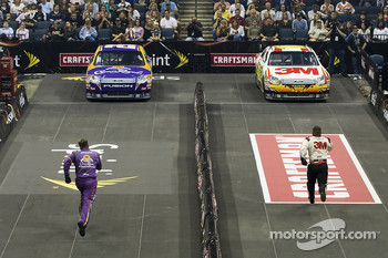 The NASCAR Sprint Pit Crew Challenge at the Time Warner Cable Arena in Charlotte: the Crown Royal crew competes against the 3M crew