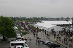 Crowds file out of the speedway after Carb Day is cancelled