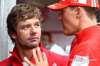 Michael Schumacer, Test Driver, Scuderia Ferrari, and Sébastien Loeb, Citroen World Rally Driver