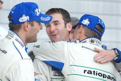Winners Marcel Tiemann, Romain Dumas and Marc Lieb celebrate