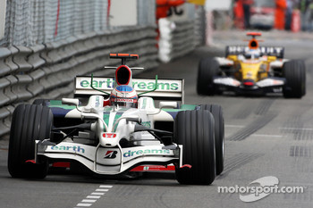 Jenson Button, Honda Racing F1 Team leads Fernando Alonso, Renault F1 Team