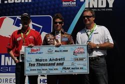 Marco Andretti receiving his pole award