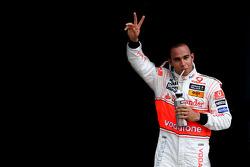 Pole winner Lewis Hamilton