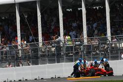 The crash damaged car of Kimi Raikkonen, Scuderia Ferrari