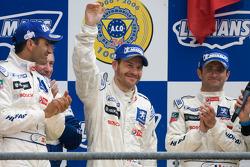 LM P1 podium: second place Marc Gene, Nicolas Minassian, Jacques Villeneuve